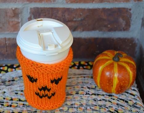 Halloween Coffee Cup Cozy Knitting Pattern