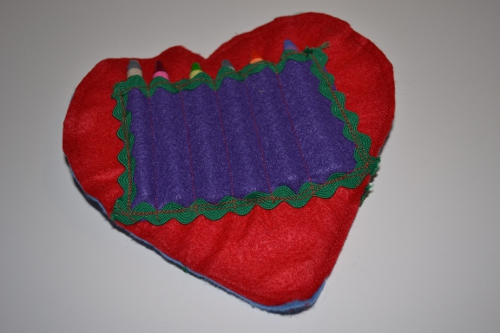 A Valentine Bag for Crayons and a Notebook