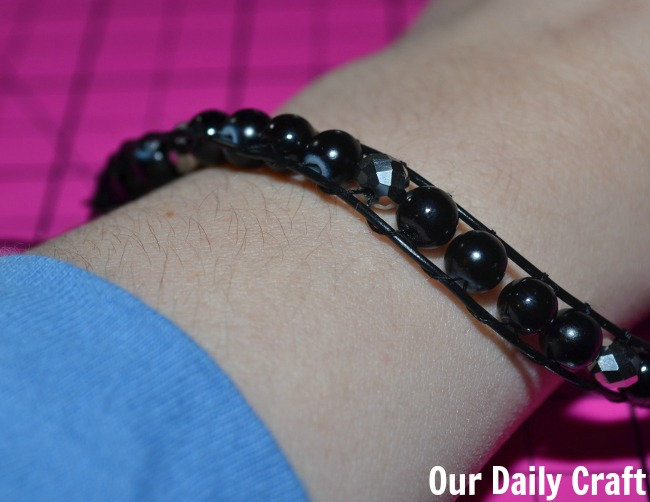 "A ""Leather"" and ""Crystal"" Wrap Bracelet {Iron Craft Challenge}"