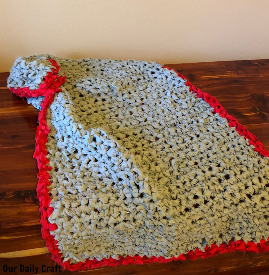 crocheted rug upcycled fabric