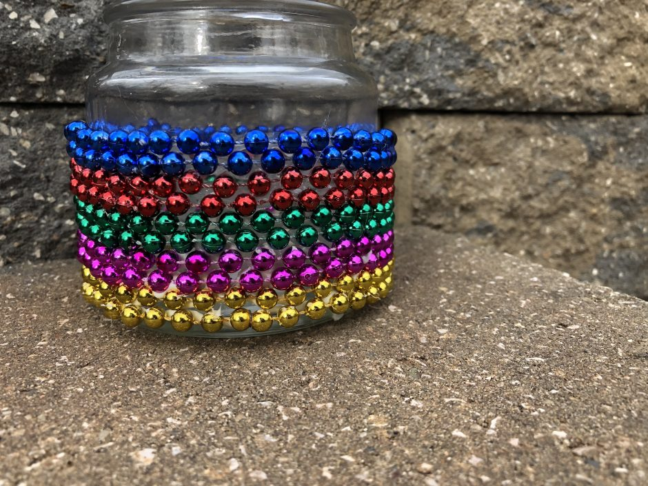 beaded candle holder mardi gras