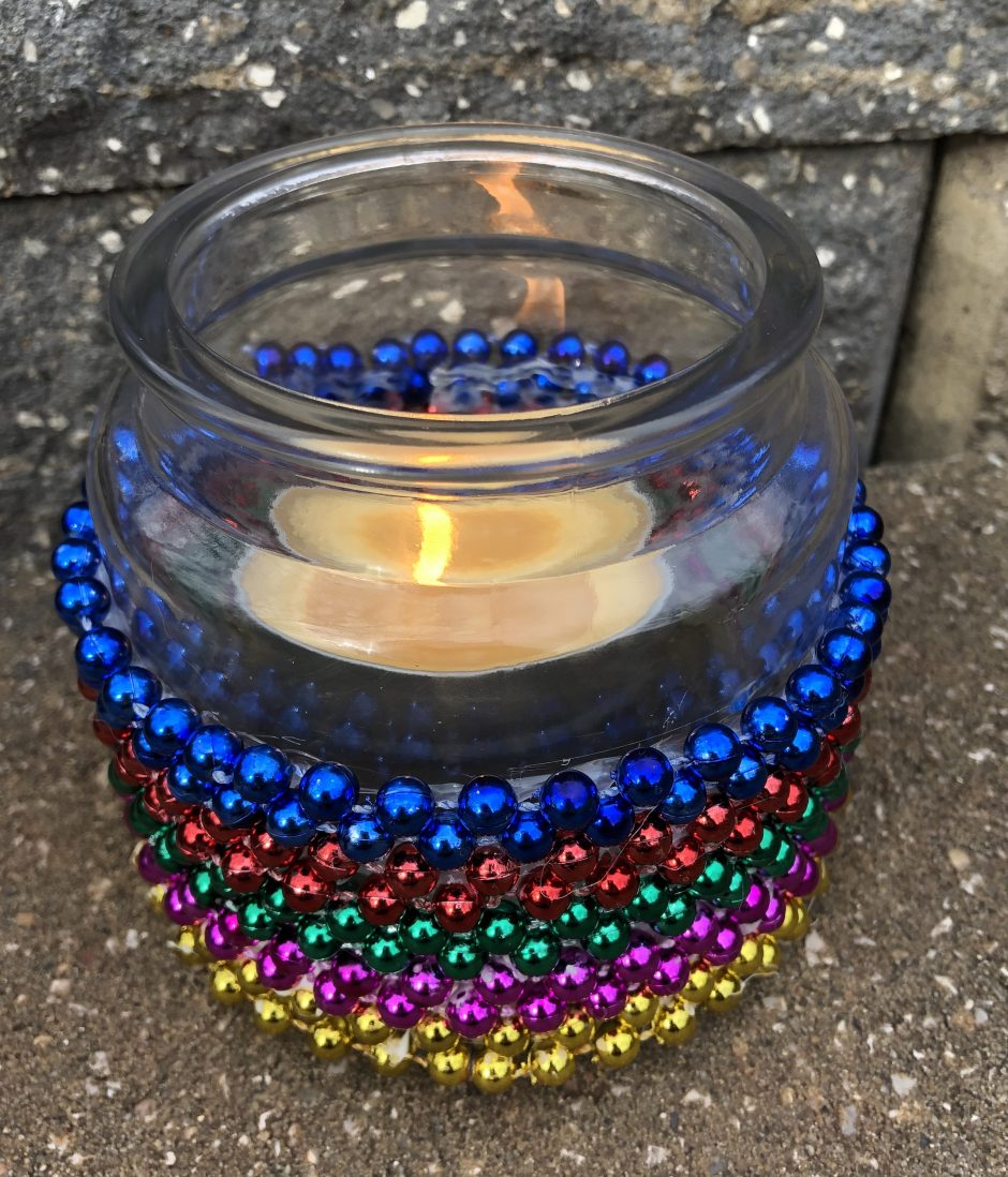 mardi gras candle holder