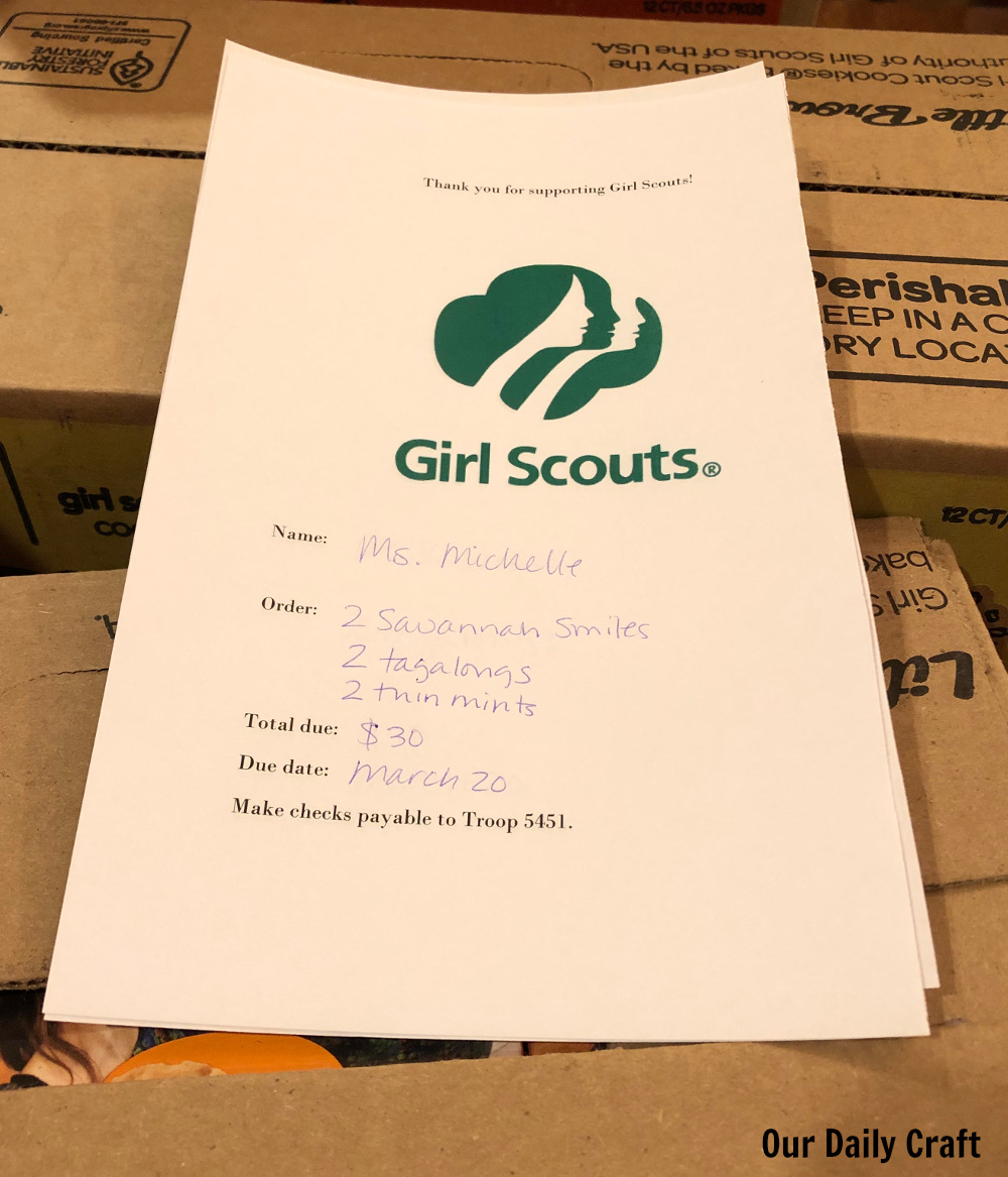 Make Cookie Time Easier with this Printable Girl Scout Cookie Receipt