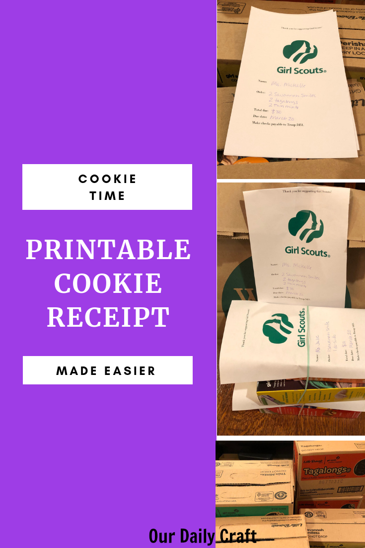 Get a printable Girl Scout cookie receipt to make keeping track of orders a little easier.