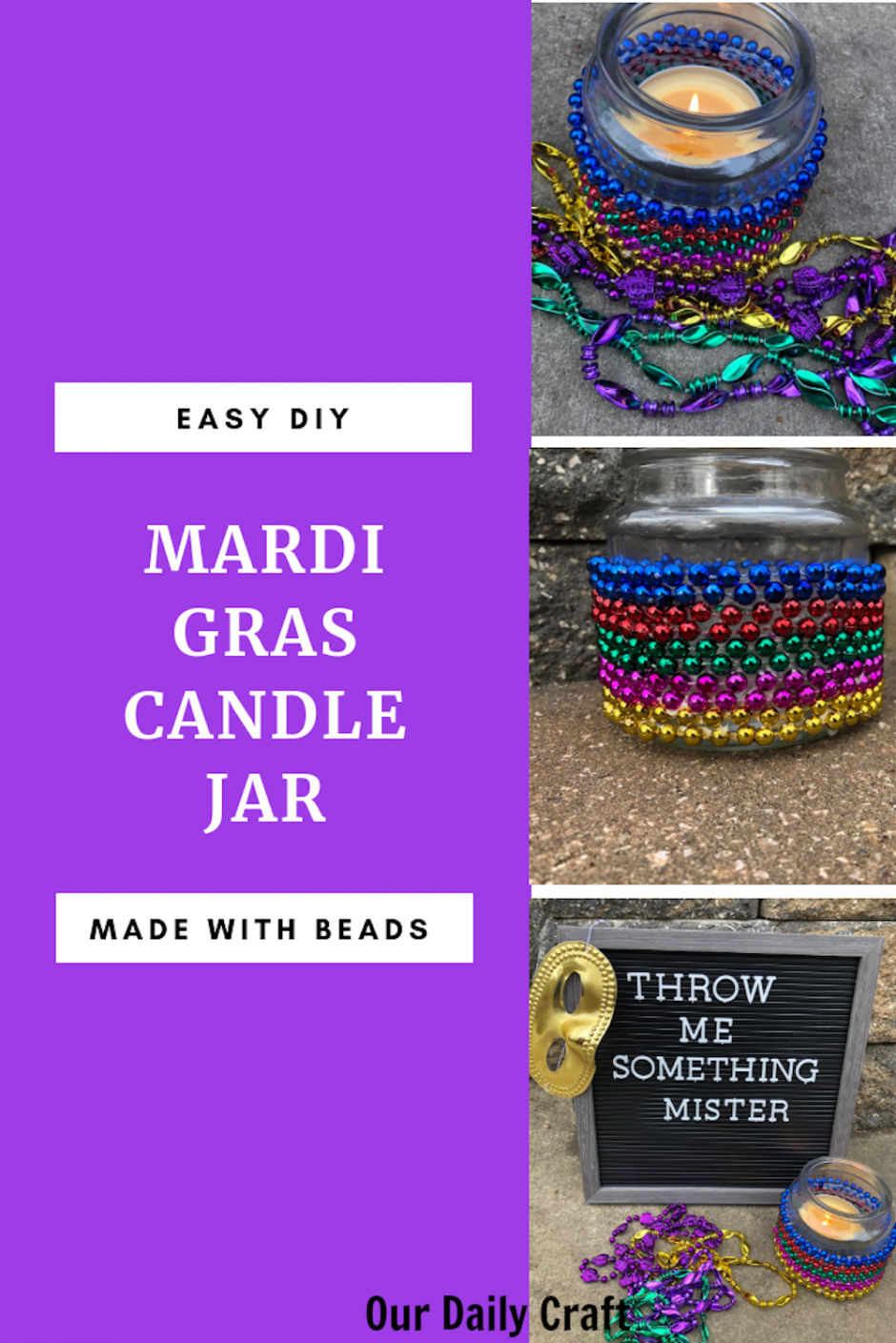 easy beaded Mardi Gras candle jar DIY