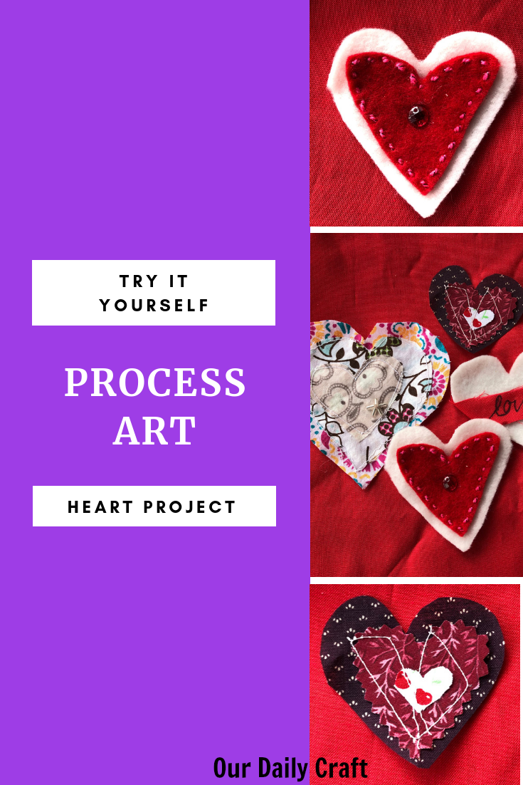 process art layered heart project