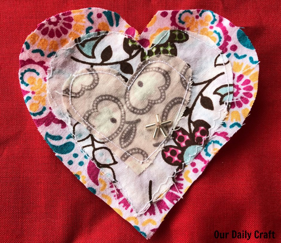 sewing process art hearts