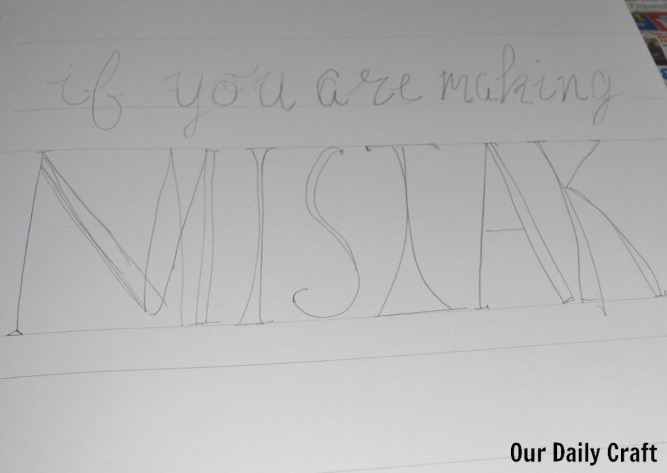 mistake in hand lettering