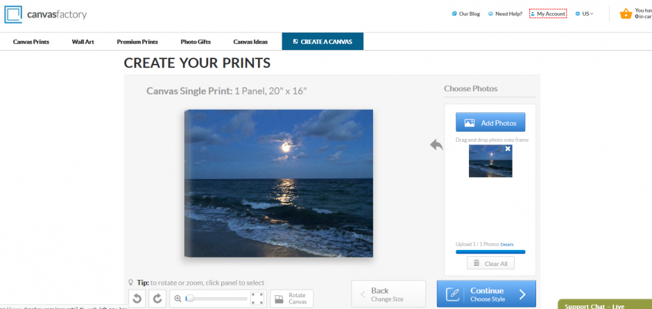 photo upload canvas factory