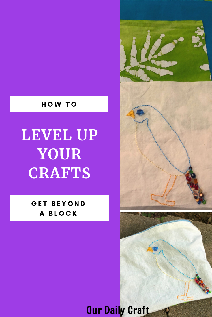 embroidered bag used to illustrate concept of leveling up in crafts