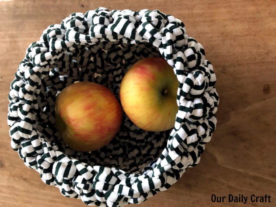 crocheted basket with apples