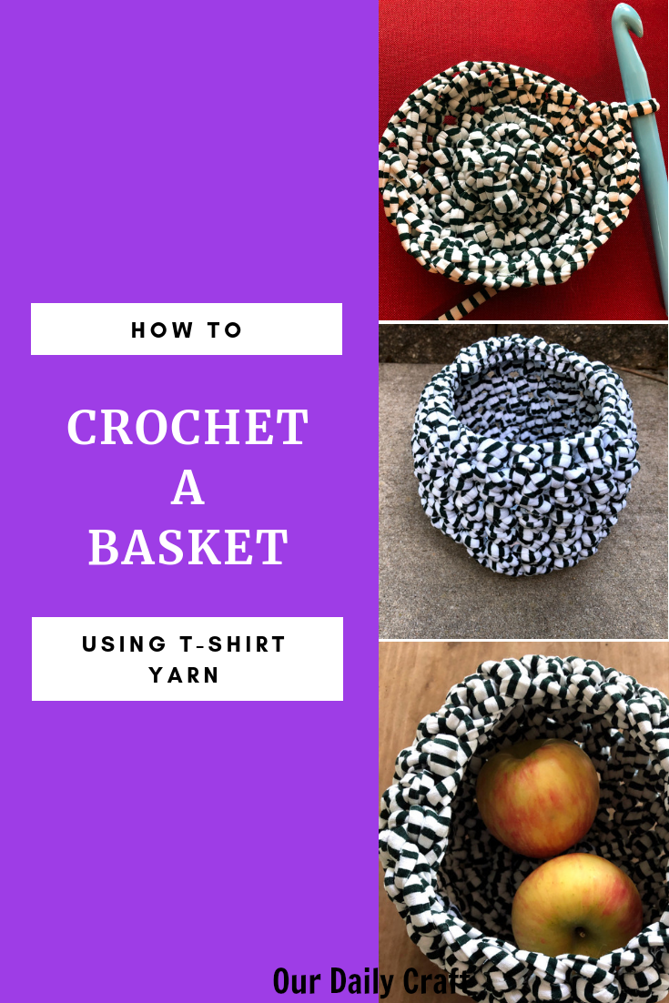 crocheted basket made with t-shirt yarn