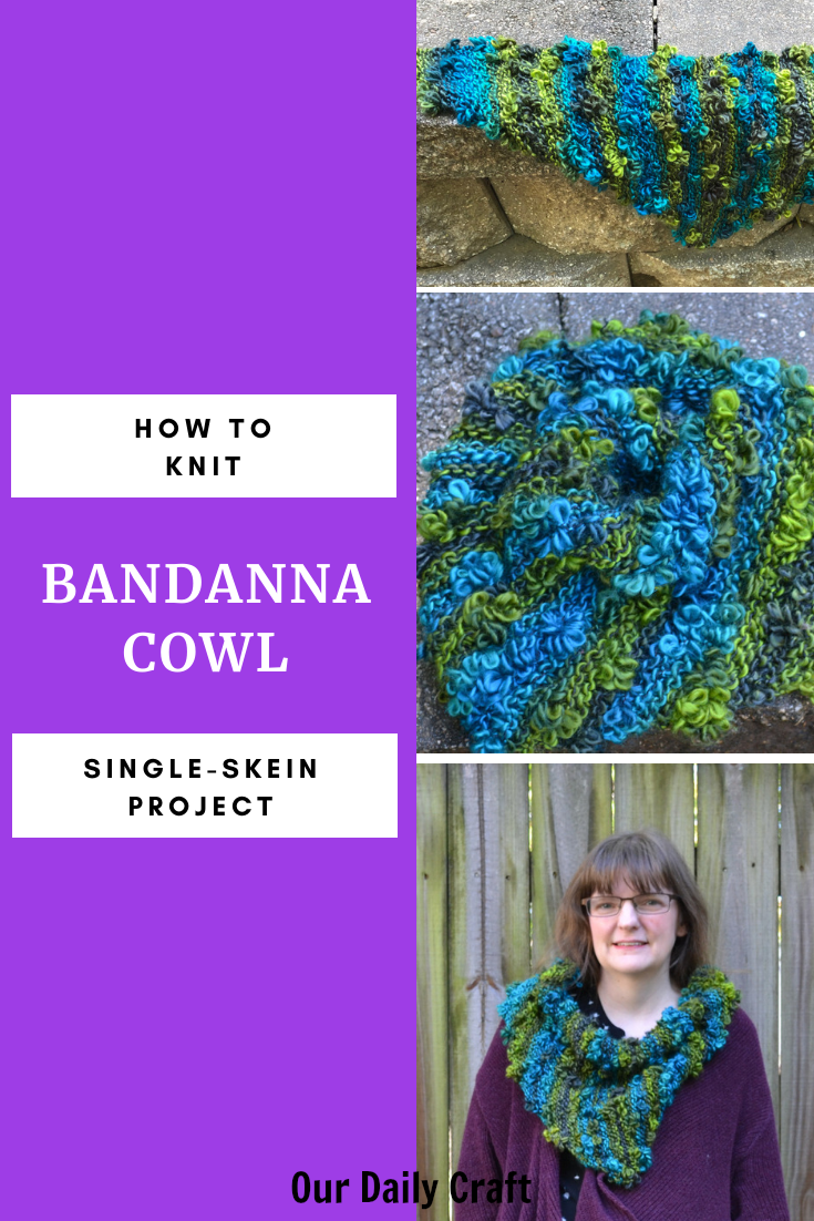 knit bandanna cowl project