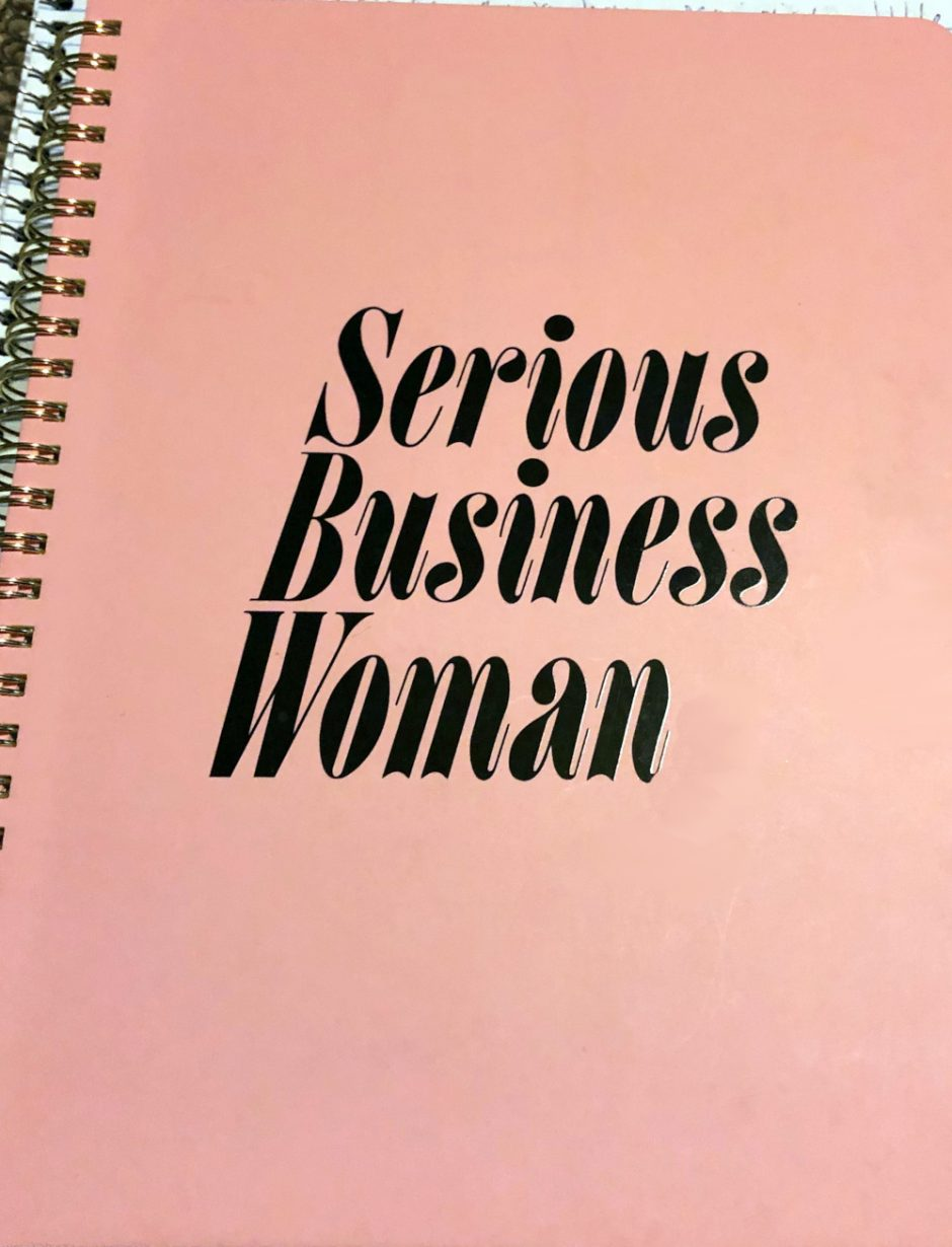 serious business woman notebook