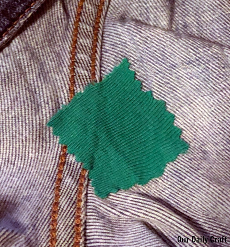 patch covering hole in a pair of pants