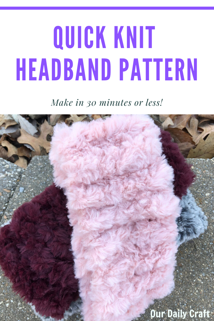 quick knit headband faux fur yarn