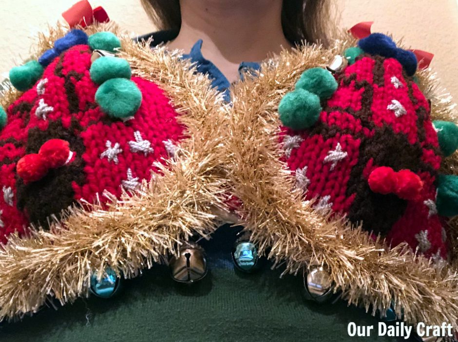 wearing ugly christmas sweater bra