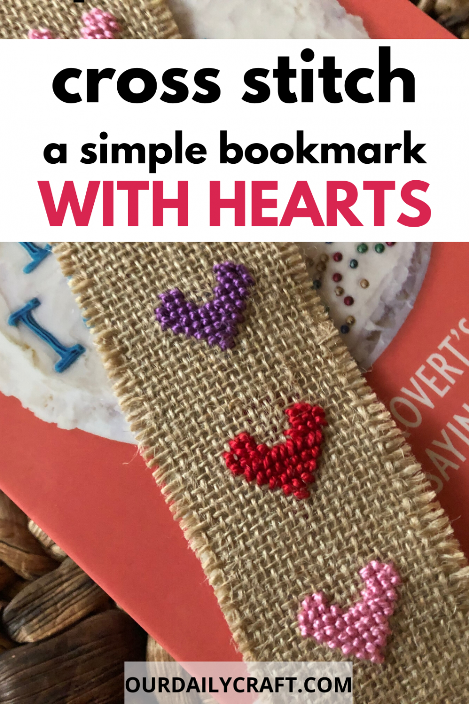 cross stitch heart bookmark